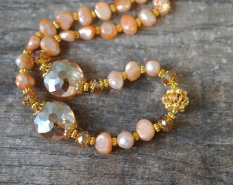 Peach pearl necklace Apricot cultured freshwater pearl Fancy dressy bead necklace Single strand