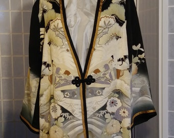 Black XL silk jacket / duster from Japanese kimono silk. Special occasions, wearable art #L77