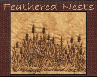 Feathered Nests - Red-winged Blackbird Nest - Redwork Hand Embroidery Pattern- by Beth Ritter - Instant Digital Download