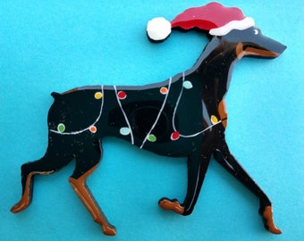 Doberman Christmas Pin, Magnet or Ornament-Color Choice-Free Shipping-Hand Painted- Free Personalization Available