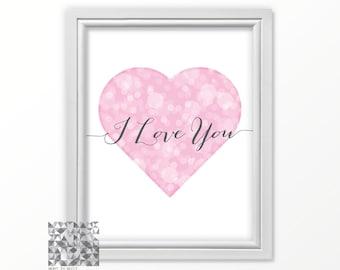 Love Art, Typographic Print, Heart Art, Heart Print, Love Illustration, Heart Illustration, Wall Art Digital Print Love Card : A0162 37 pink