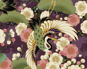 Celebration - Tsuru Crane Bird Plum Purple with Metallic Accents from Quilt Gate