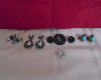 Vintage Lot Of Costume Jewerly / Earrings / Brooches  / Sterling / Turquoise / Rhinestone!