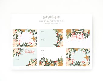 Christmas Gift Labels Set of 18   Illustrated Holiday Gift Labels with To and From : Winter Mint Christmas Wrapping Labels Stickers