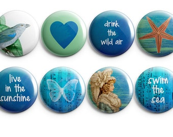 "cute buttons, drink the wild air set, 1.25"" Pinback Buttons, Magnets, or Flair, Gift for her, Heart Shaped flair, Vintage Woman, Starfish"