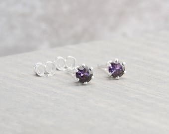 Sterling Silver Amethyst Stud Earrings - February Birthstone Earrings - 4mm Studs - February Birthday - Purple Earrings - Christmas Gift