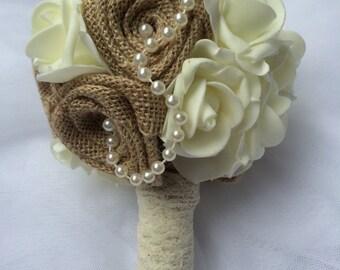Foam flowers, Burlap  flowers Bouquet Burlap Bouquet Wedding Bride Bridesmaid Bouquet Foam flowers roses bouquet
