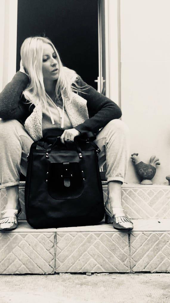 Vogue Large Bag, Black full grain Leather Bag,  Genuine Leather Handmade Bag, Laptop bag, Leather Laptop Bag, Custom Bag