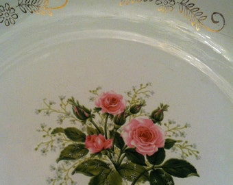 TrEs Manca 1960's Monterrey Mexico Enamelware Bowl 8 inch gold scroll accented rose