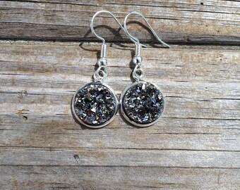 Silver Grey Druzy Dangle earrings, Fishhook earrings, Gift for her, Birthday Gift, Christmas Gift, Gift for Mom, Gift for Women