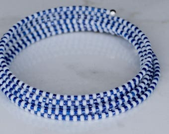 Your favorite team/white, blue/Donate/affordable/glass/beads/wire/boho/beach/girls/women/wrap/stackable/fun/funky/unique/
