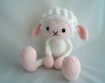 Crochet Sheep / Amigurumi Sheep / Crochet Amigurumi Soft Toy / Crochet Lamb Plush Soft Toy / Sheep Plush Toy / Crochet Lamb Plush with Pink
