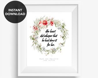 Pride and Prejudice Jane Austen Quote Elizabeth Bennet Mr Darcy Literature Print Book Quote Literary Poster Download Printable Wall Art
