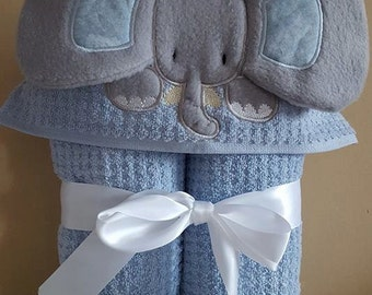 Elephant hooded towel/ Baby Boy Hooded Towel/ Hooded Towel/ Elephant/boys hooded towel/ baby shower/personalized/party