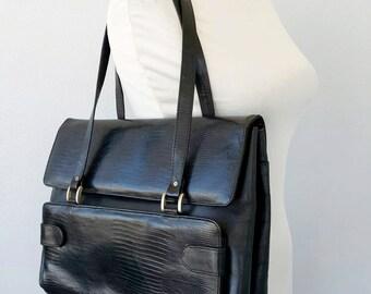 Vintage leather handbag Black large shoulder bag Genuine leather hand bag Womens leather hanbag  Large leather purse