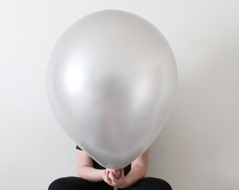 "36"" SILVER giant latex balloon - Perfect for weddings, birthdays, photography props"