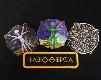 Ancient Visitors Patch & Pin Set