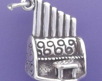 PIPE ORGAN Charm .925 Sterling Silver, Musical Instrument Pendant -  lp3065