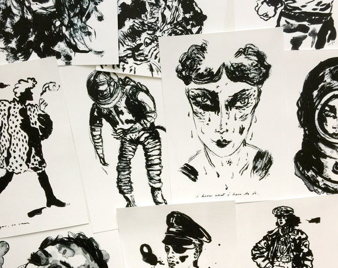 black and white art prints / set of 10 / office decor / fridge art / bulletin board art / from original drawings