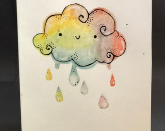 Petite Folded Notecards - Rainbow Cloud