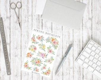 Floral Spring Bouquets sticker-watercolour flowers illustrations-Suitable for bullet Journal, School, University, planning, decorating