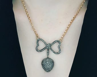 Rose Cut Diamond Bow and Heart Pendant on Antique Chain
