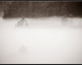 Boat in Fog Black and White Sephia toned Photographic Fine Art Print