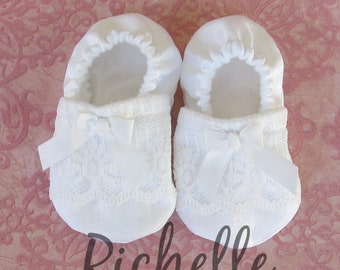White Lace Baby Girl Shoes Baptism Blessing Christening Special Occasion Dressy Shimmery Silky Soft Sole Crib Shoes Outfit, Infant Toddler
