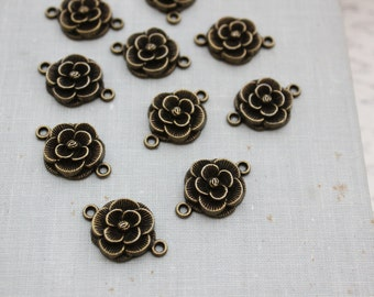 Flower Connector Links - Antique Bronze