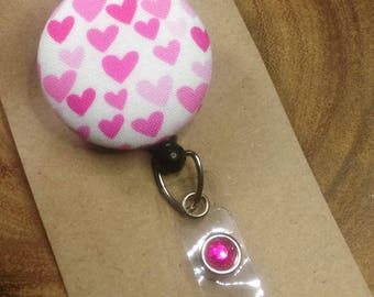 Valentine Badge Reel, Hearts, Pink, Hot Pink, Retractable Badge Reel, Scout and Remy Badge Holder