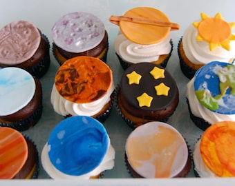 Solar System (Planets) Cupcake Toppers (100% Edible)
