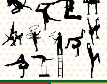 Acrobats silhouettes sale, eps, svg, png and jpg files high resolution CL-SP-001