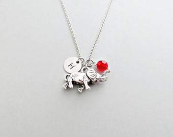 Elephant Initial Necklace Personalized Hand Stamped - with Silver Elephant Charm and Custom Bead