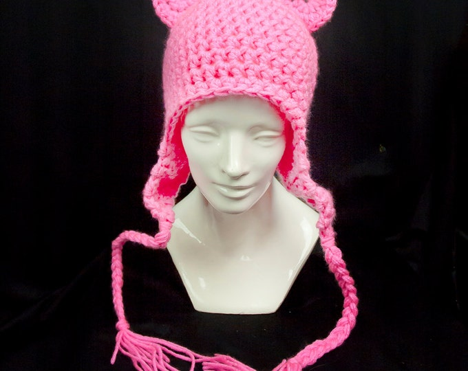 Hot Pink Bear Ears EarFlap Hat Handmade Christmas Gift Ready to ship