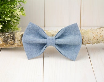 Chambray Dog Bow Tie// Pet Bow Tie