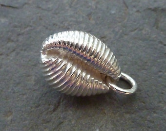 Cowrie shell (large) pendant in sterling silver...