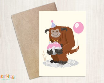 Ludo from Labyrinth Illustrated Birthday Card 4 by 6 Inch- 1980s Movie Character Birthday Card