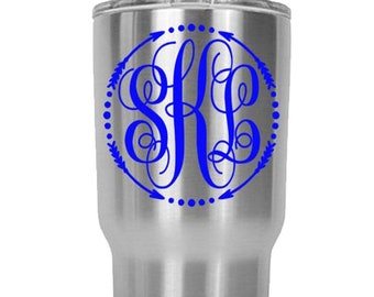 Monogram Custom Decal - Choose Your Favorite Color - Monogram for Yeti Tumblers and all other 30 oz Tumblers | DECAL ONLY