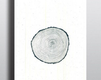 Blue Ash Tree Rings Hand Illustrated and Screen Printed