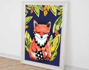 A4 - Fox on blue ink - illustration print