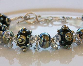 My Favorite Bracelet Ever  Swarovski Crystal Bead and Lampwork Beaded Bracelet   SRAJD   handmade  OOAK   holiday