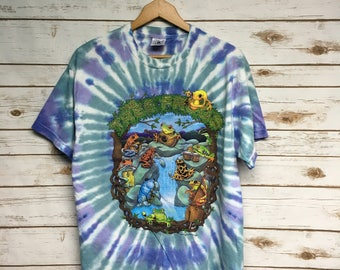 Vintage 90's Tree Frogs tie dye tshirt Music hippie tie dye Rainforest t shirt zoo animal print psychedelic t shirt - Large