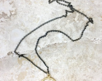 30% OFF Sacred Eye Talisman - pave diamond evil eye gold pendant on a petite black gold necklace