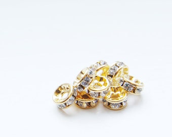 4pcs Swarovski Rondelles 1577 - Crystal and Gold 6mm (SW65001)