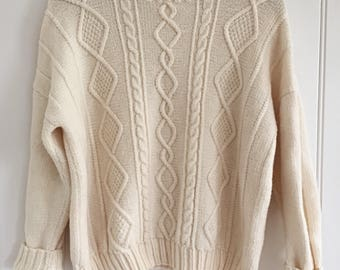 Vintage Cream Wool Cable Knit Sweater