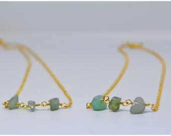 Hand Made Necklace with Quartz Stones, Gold plated Chain - Minimalistic, Simple, Natural Stone (Aventurine Quartz)
