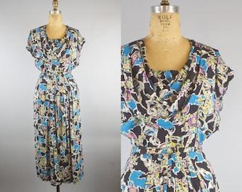 1940s Novelty Print Loom Print Dress / 40s Dress / 1940s Dress