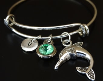 Dolphin Bangle Bracelet, Adjustable Expandable Bangle Bracelet, Dolphin Charm, Dolphin Pendant, Dolphin Jewelry, Dolphin Lover, Dolphin Gift
