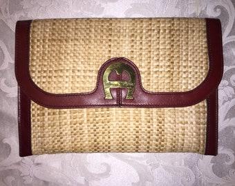ETIENNE AIGNER VINTAGE Oxblood Leather/Straw Clutch Bag 12.5 x 8.5