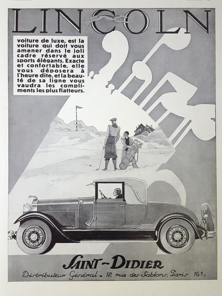 Lincoln car memorabilia poster double sided ad Pure silk Soie